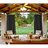 cololeaf Outdoor Patio Curtain Water Resistant - Pinch Pleated For Track or Traverse Rod with Ring,at Front Porch, Pergola, Cabana, Patio, Gazebo, Dock,84 Wide by 102-inch Long - Black (1 Panel)