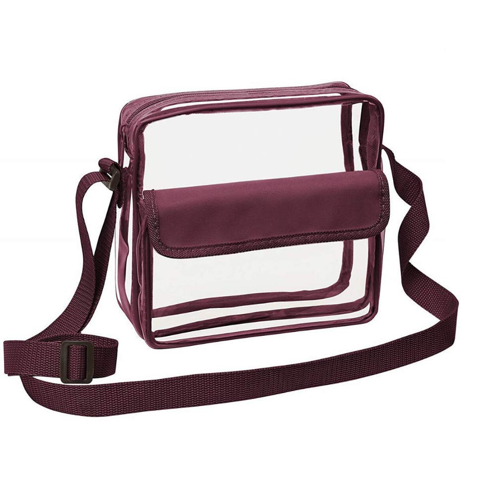 CHM Clear Crossbody Messenger Shoulder Bag with Adjustable Strap NFL Stadium Approved Transparent Purse