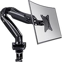 HUANUO Enkele Monitorarm voor 13-27 '' LED LCD-Schermen, 360 ° Draaibare Gasveerarm, 2 Optionele Montagemethoden…