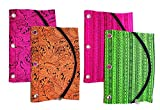Inkology Tribal 3 Ring Binder Pencil Pouches, 10 x 7 Inches, 6 Pack, Assorted Colors, 04084