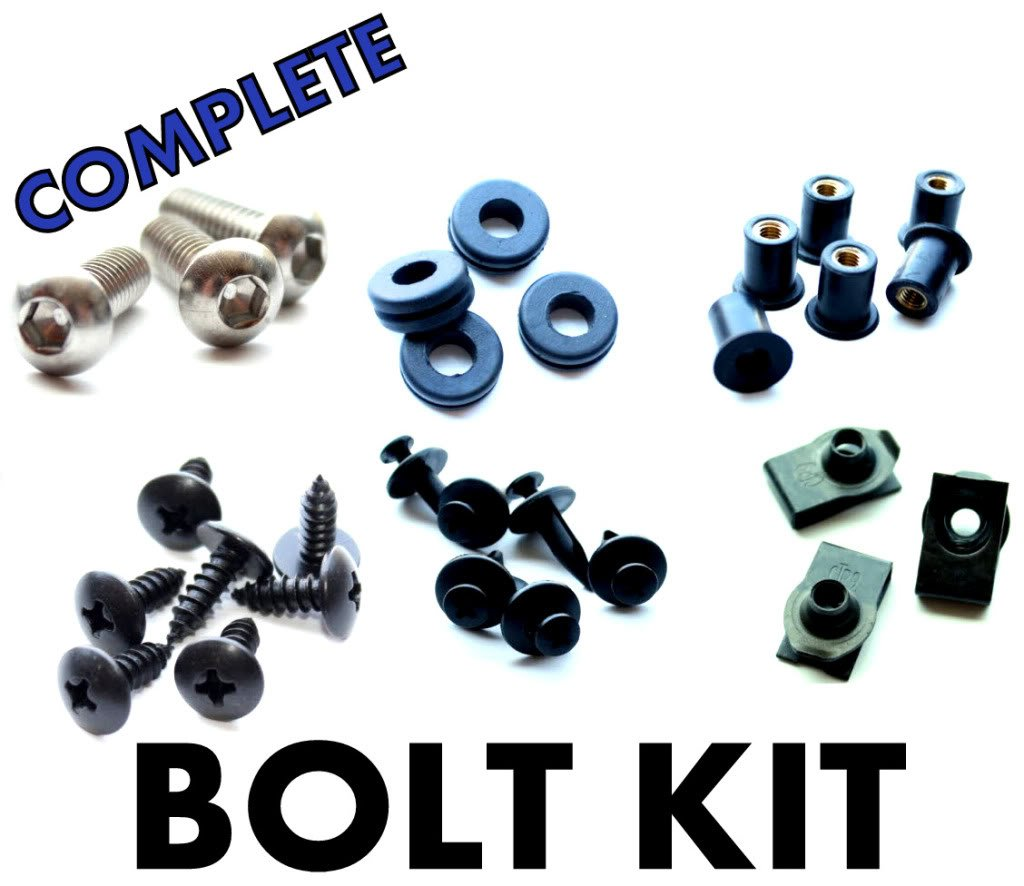 Suzuki SV650 03 04 05 06 07 08 09 Motorcycle Fairing Bolt Kit, Complete Screws and Fasteners kit SV 650 2003 2004 2005 2006 2007 2008 2009 CaliBikerClub