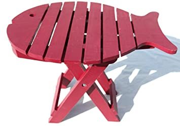 Wooden Folding Fish Shaped Table With Distressed Finish By Thorness