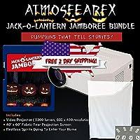 Atmostfearfx Jack-O-Lantern Jamboree DVD Video Projector Bundle, 1200 Lumen and 600 x 480 Resolution