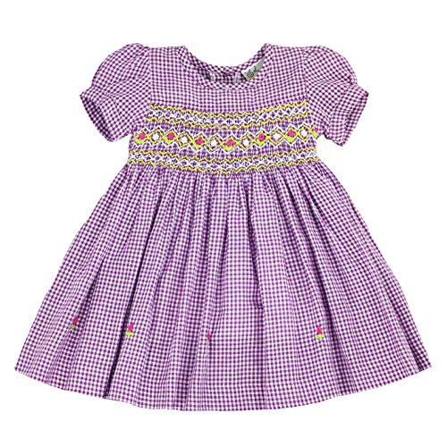 sissymini - Infant and Toddlers Hand Smocked Dress | Pamela Griffis' Plaid in Purple 4T