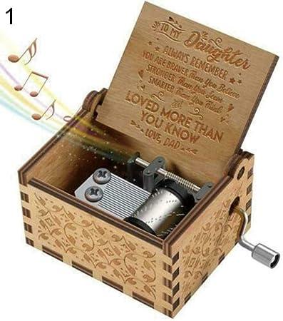 Profusion Círculo de mano de madera grabada caja de música mamá / papá a hija Ornamento de juguete para niños regalo, madera, Dad To Daughter: Amazon.es: Hogar