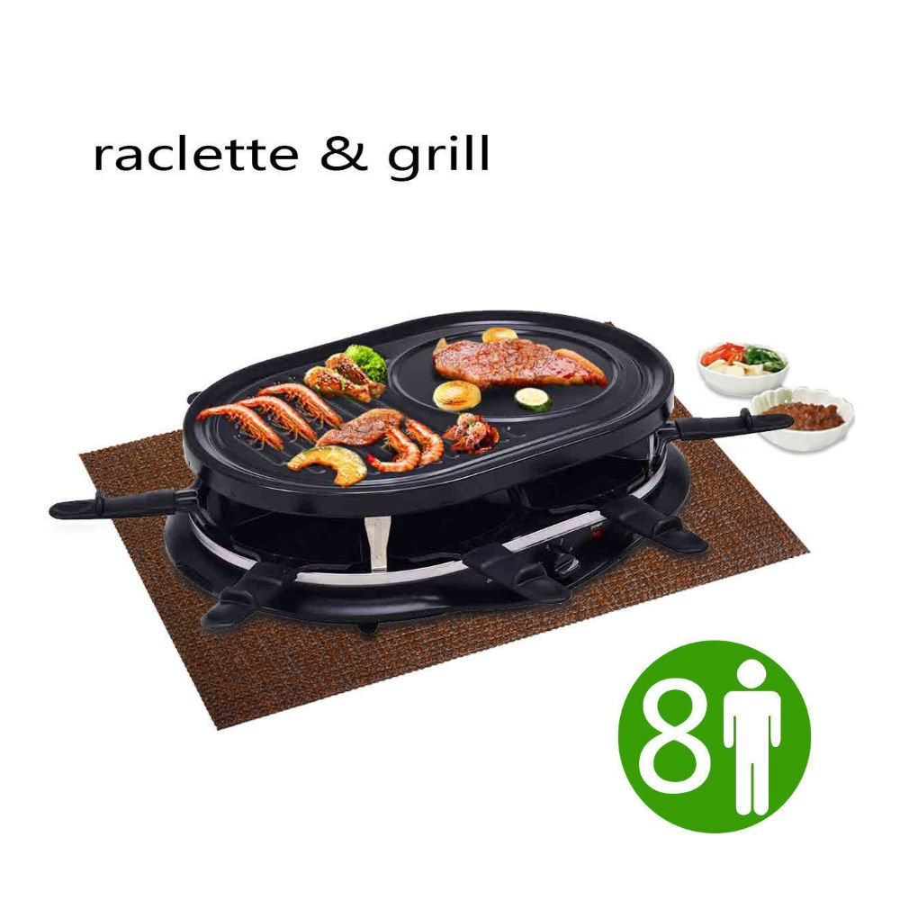Electric Raclette Grill Oval 1200W 8 Person Party Cooktop Non Stick Black New