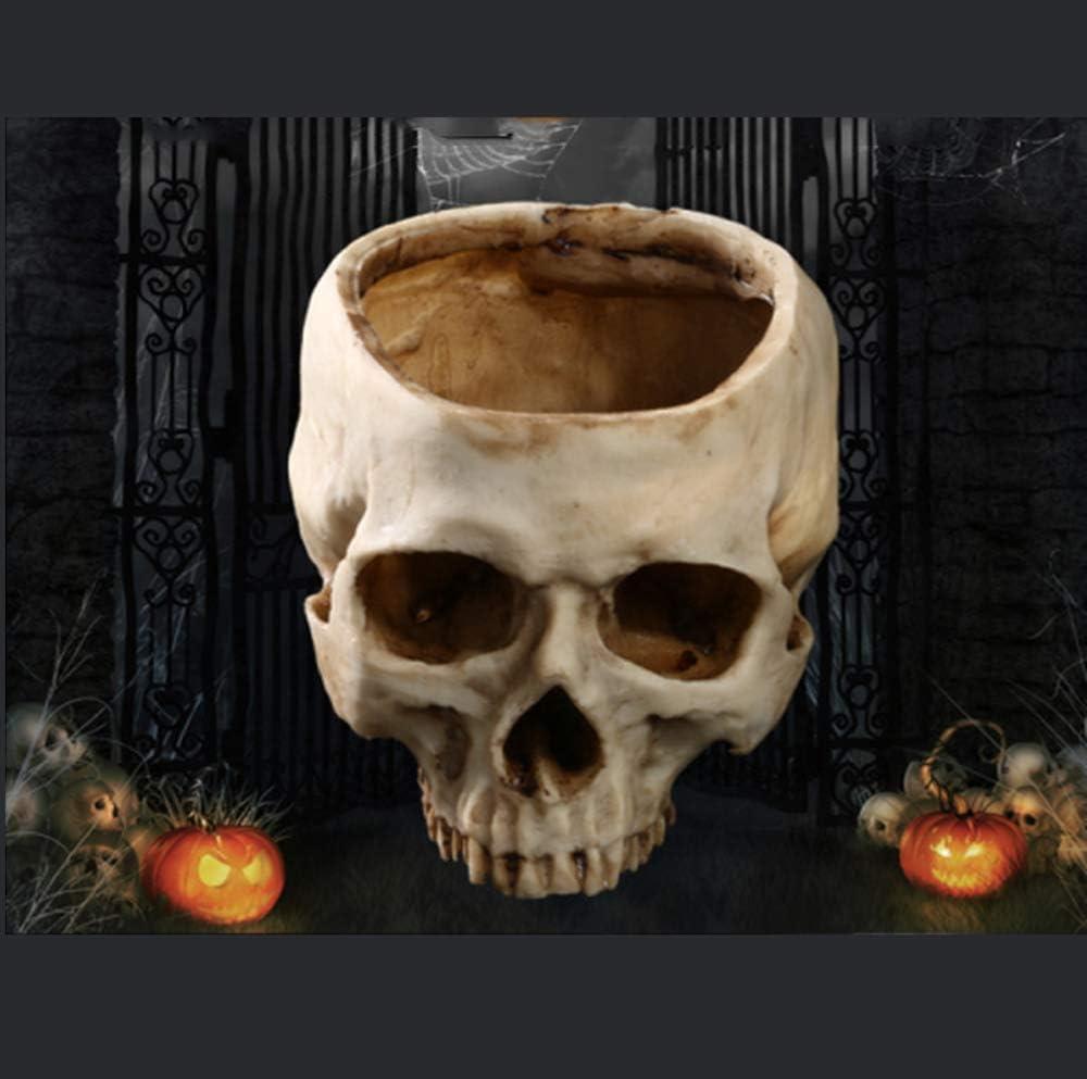 AIKENR Resin Halloween Skull Pot Planter Container Decoration Large Flowerpot Set Props for Home Office Desk Decoration