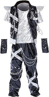 Daytwork Brillante Paillettes Vestiti Danzanti - Bambini Unisex Giuntura Jazz Palcoscenico Spettacolo Spettacoli Ragazze Costumi da Ballo di Strada Sportivo All'Aperto Hip-Hop Dancewear