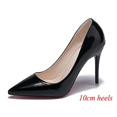 separation shoes b30f4 3fd96 Amazon.com | Nude Patent Leather High Heels Women Pumps Red ...