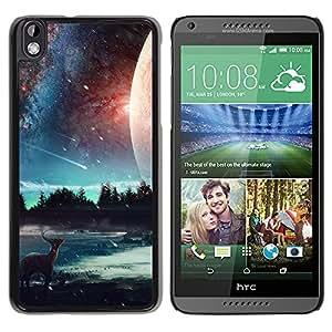 Caucho caso de Shell duro de la cubierta de accesorios de protección BY RAYDREAMMM - HTC DESIRE 816 - Hermosa Elk Galaxy