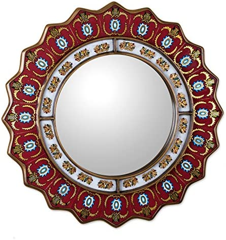 NOVICA Red Reverse Painted Glass Wood Framed Decorative Star Wall Mirror From Peru Ruby Medallion Large