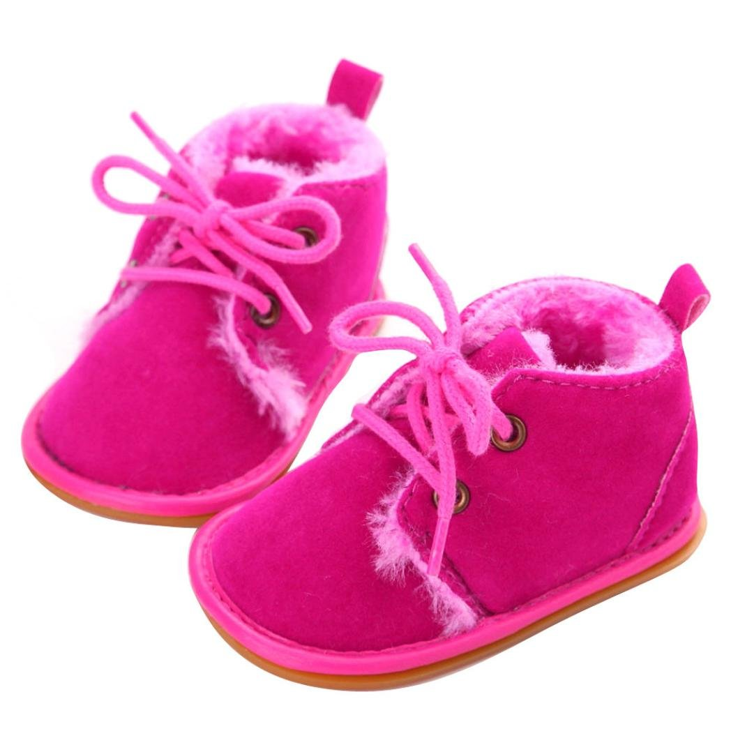 Baby Winter Boots Mingfa Warm Thick Toddler Boy Girls Fur Snow Booties Lace Up Crib First Walking Shoes for 0-18 Month (Age:6~12 Month, Black) Mingfa.y