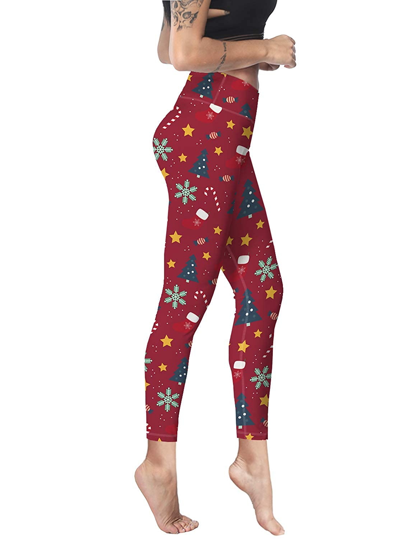 Yoga Pants for Women Ankle Length High Waisted Christmas Cartoon Santa Clous Black Soft Workout Leggings