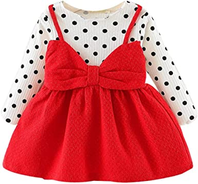 Yikey Toddler Kids Baby Girls Long Sleeve Solid Tops+Lace Princess Dress Outfits