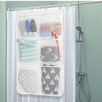 Duschvorhang Lagerung Weiss Tasche Ordnungssysteme Mit 4 Rings 6