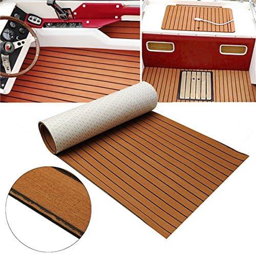Queenwind 240cm x 90cm x 5mm EVA フォームチークシートボートヨット合成チークのデッキのり