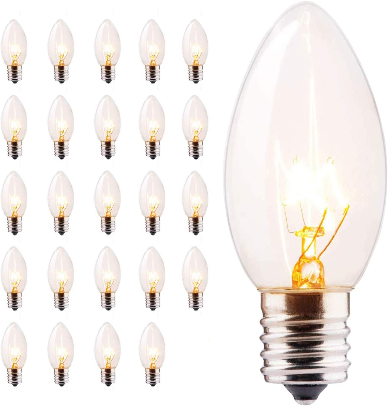 Minetom 25 Pack C9 Clear Replacement Bulbs for Christmas Lights, E17 C9 Intermediate Base Incandescent C9 Christmas Light Bulbs, 7-Watt, Warm White