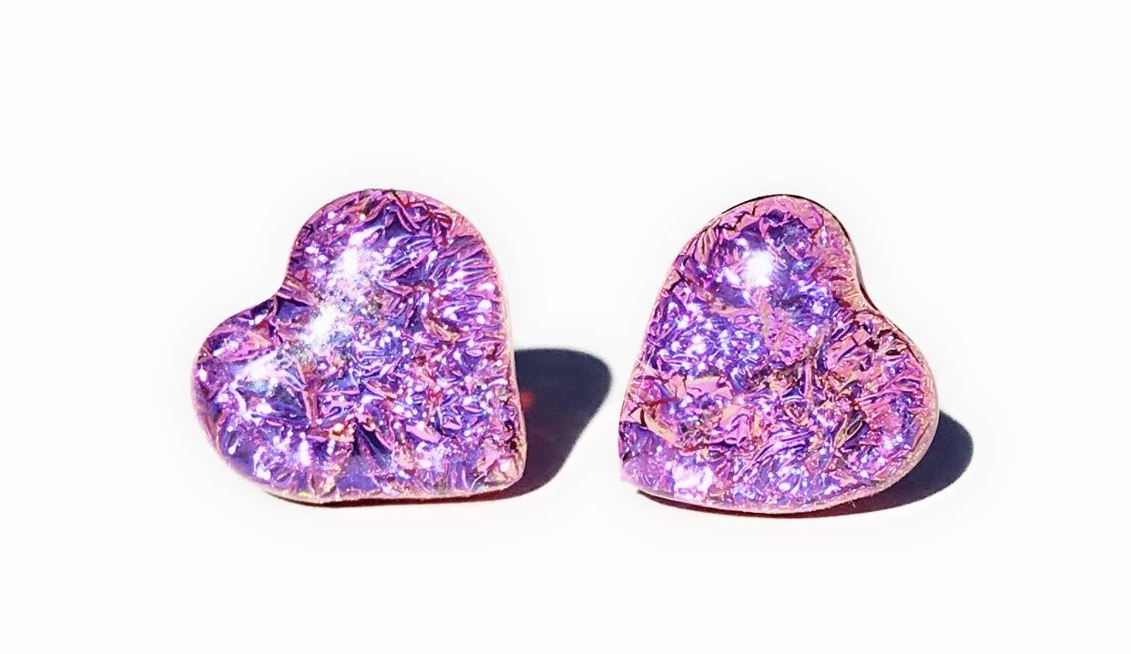 Pink Dichroic glass heart