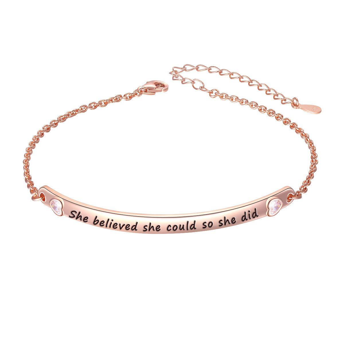 """SILVER MOUNTAIN Sterling Silver Engraved Inspirational Adjustable Bracelet """"She Believed She Could So She Did"""" Gift for Her, Women, Friendship (Style 1 Rose Gold Plated)"""