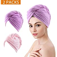 FLORICA 2 Pack Hair Towel Wrap Turban Microfiber Drying Bath Shower Head Towel with Buttons Quick Magic Dryer Dry Hair Hat Wrapped Bath Cap (2 colour)