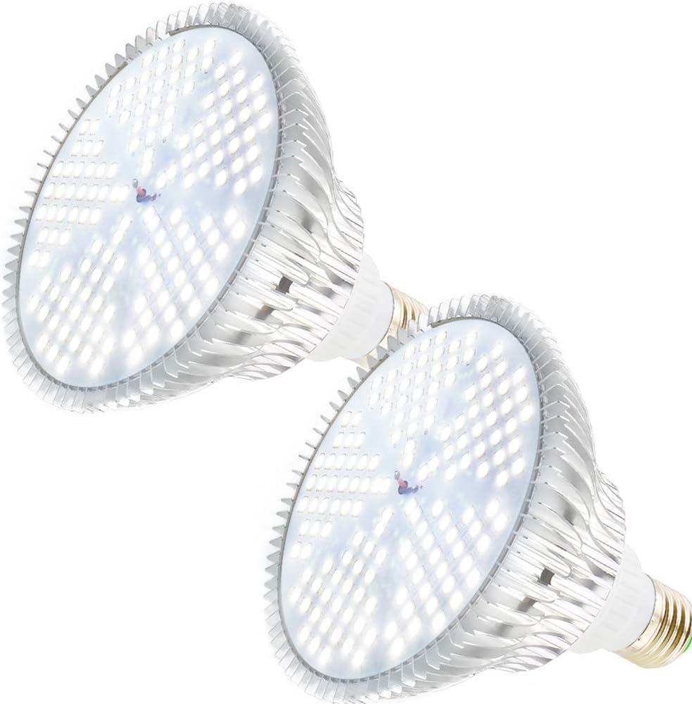 MILYN LED Grow Light Bulb for Indoor Plants Full Spectrum Pure White Grow Lamp, 2 Pack 100W E26 LED Plant Bulb for Seedlings, Flowers, Greenhouse, Vegetable, Succulent, Houseplants, Hydroponic