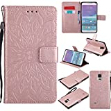 Galaxy Note 4 Wallet Case,A-slim(TM) Sun Pattern Embossed PU Leather Magnetic Flip Cover Card Holders & Hand Strap Wallet Purse Case for Samsung Galaxy Note 4 - Rose Gold