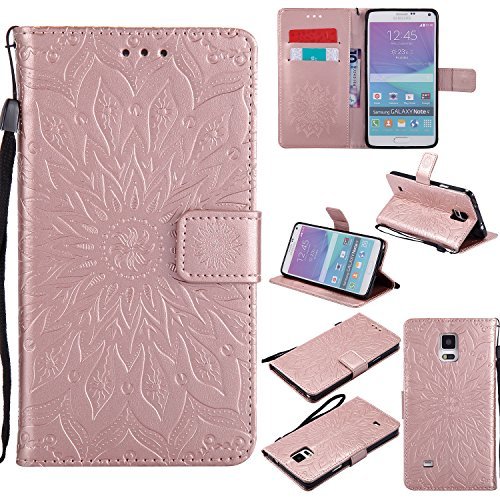 Galaxy Note 4 Wallet Case,A-slim(TM) Sun Pattern Embossed PU Leather Magnetic Flip Cover Card Holders & Hand Strap Wallet Purse Case for Samsung Galaxy Note 4 - Rose Gold (Samsung Galaxy Note 4 Wallet Case)