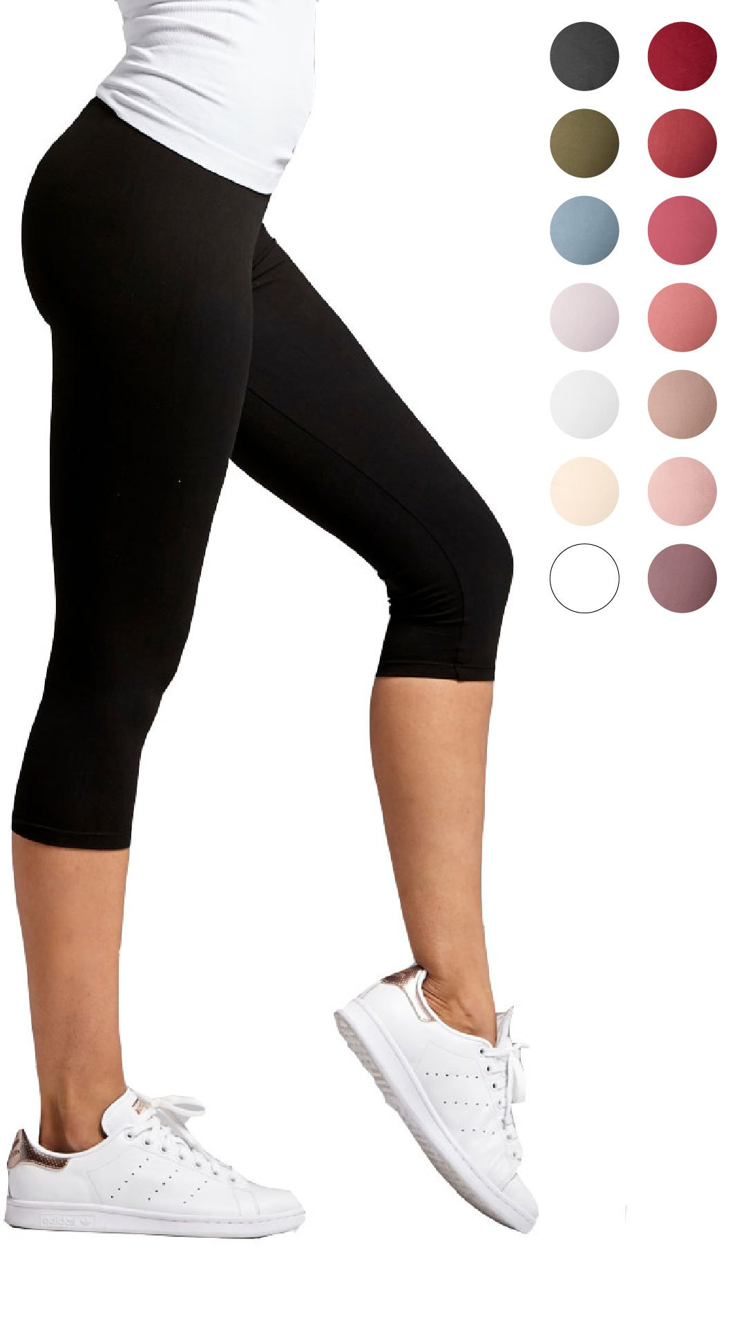Conceited Premium Ultra Soft Capri Leggings - High Waist - Regular and Plus Size - 15 Color Black Small/Medium (0-12) by Conceited (Image #1)