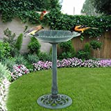 "ZENY Birdbath 28"" Height Outdoor Garden Verdigris Bird Bath Feeder Decor Vintage Yard Art"