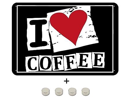 BlechschilderWelt Cartel de Chapa con Texto I Love Coffee ...