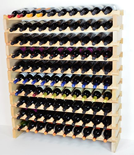 Modular Wine Rack Beechwood 40-120 Bottle Capacity 10 Bottles Across up to 12 Rows Newest Improved Model (100 Bottle - 10 Rows) 100 Bottle Wine Rack