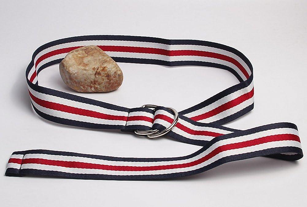 Kentop plastica cintura uomo donna TELA Cintura in tessuto jeans cintura Sport con metallo doppio anello Tela 110/×3.8cm Stil B