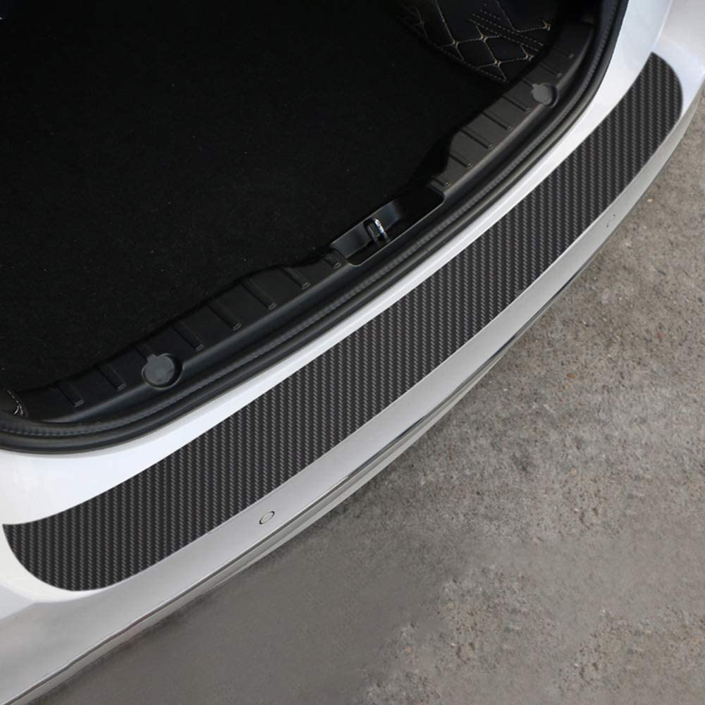 Rear Bumper Guard 4D Carbon Fiber Black Anti Scratch Strong Adhesive with Scraper Easy Installation for Most Car Anemoner 90CM Car Rear Bumper Protector