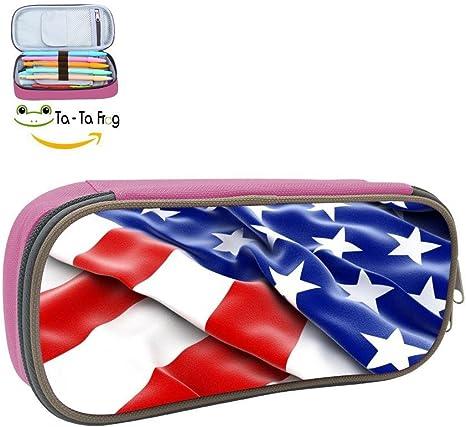 Estuche para lápices de niños, diseño de bandera estadounidense patriótica, gran capacidad, bolsa de maquillaje para niños: Amazon.es: Oficina y papelería