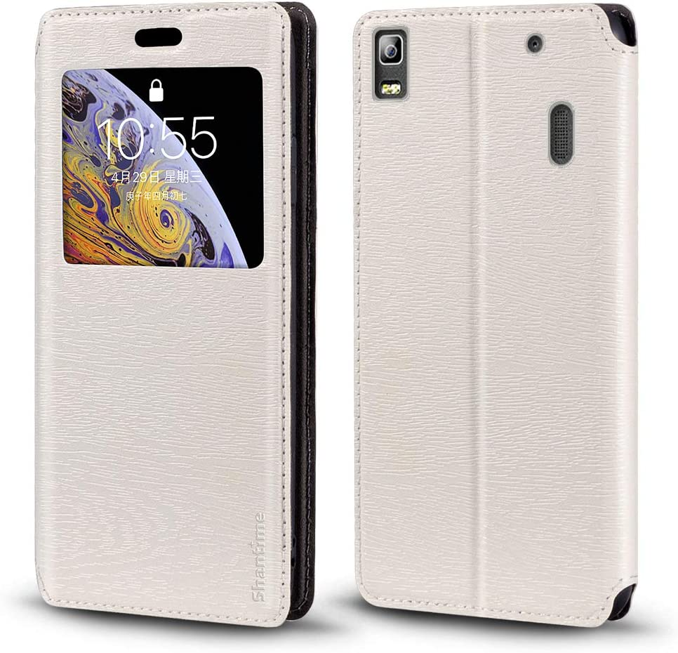 Lenovo K3 Note Case, Wood Grain Leather Case with Card Holder and Window, Magnetic Flip Cover for Lenovo A7000 Turbo
