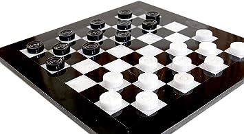 Radicaln Juego de ajedrez de Damas 12 Pulgadas Blanco y Negro Hecho a Mano Mármol para Dos Jugadores Juego Borrador Juego de café-Juego de Mesa de Tablero de ajedrez Cuadrado Checkers Game: