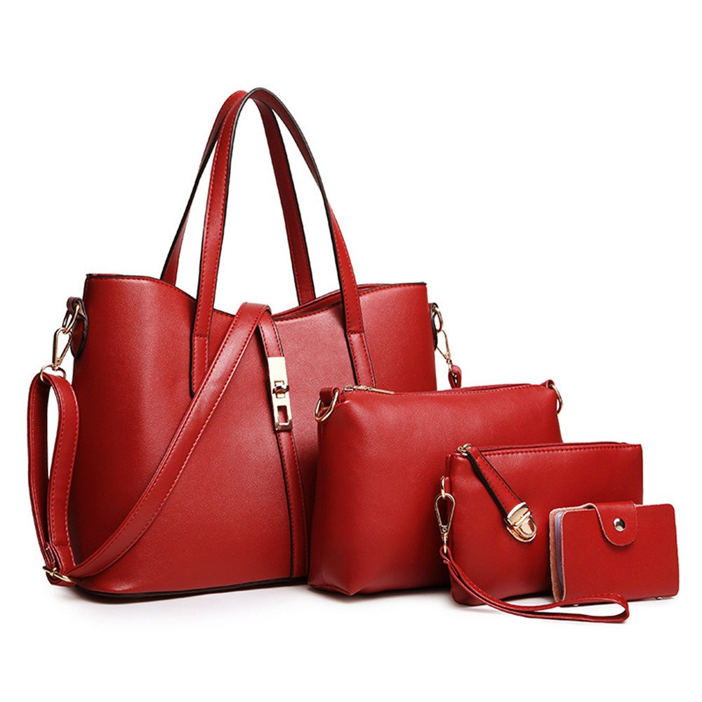 SIFINI Women Fashion PU Leather Handbag+Shoulder Bag+Purse+Card Holder 4pcs Set Tote (red)