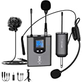 UHF Wireless Microphone System Headset Mic/Stand Mic/Lavalier Lapel Mic with Rechargeable Bodypack Transmitter…