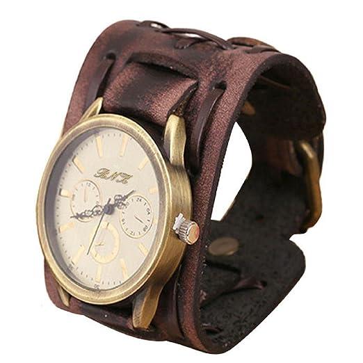 Tongshi Nuevo estilo retro punk rock grandes de Brown ancho de cuero pulsera reloj pulsera de