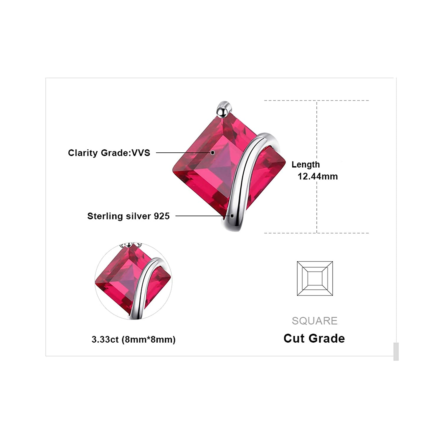 Pendants Necklaces by CS-DB Classic Square 3.3ct Ruby 45cm Chain Silver Womens Jewelry