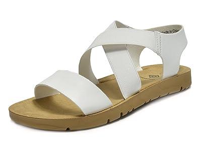 17f19f609a4e DREAM PAIRS Women s GREEK-01 White Platform Wedge Flat Sandals - 5 ...