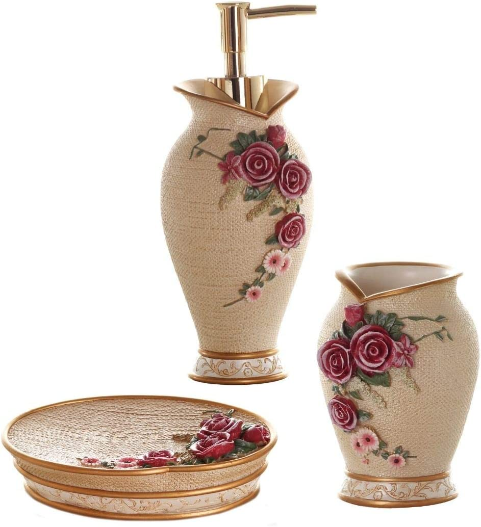 Glarcy Bathroom Accessories Set - Soap Dispenser, Tumbler/Toothbrush Holder, and Vanity Tray - Luxury Hand Painted Decor