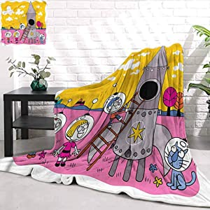 Stevenhome Warm Cozy Throw Blankets for Office CartoonAstronaut Kids with Rocket Soft Bedding Home Textiles W70 x L90 inch