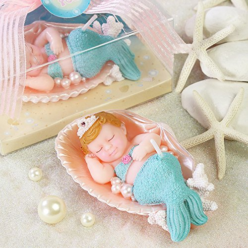Adorable Baby Mermaid Birthday Candles Cake Topper Christening Baby Shower  Favors Party Decoration (With Gift Box)