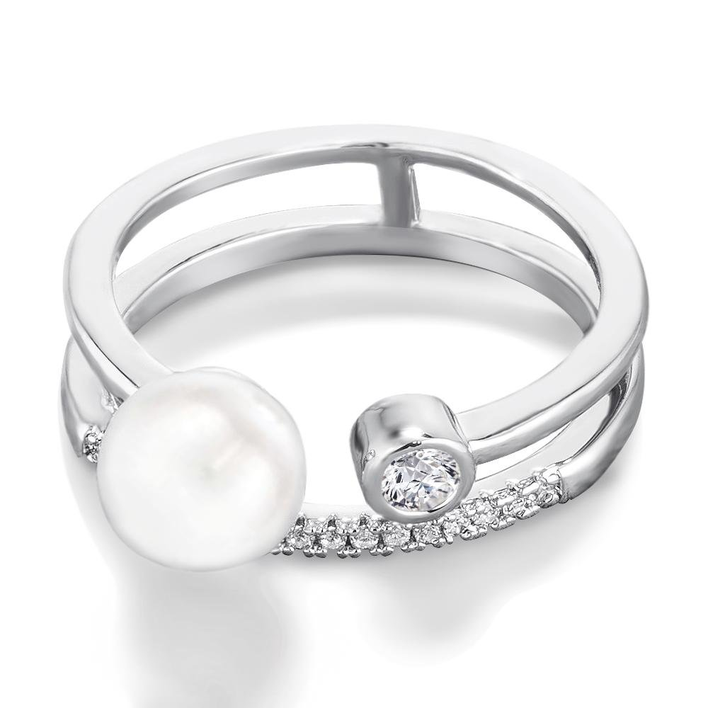Samie Collection Open Stacking Ring Double Band with Simulated Pearl and CZ