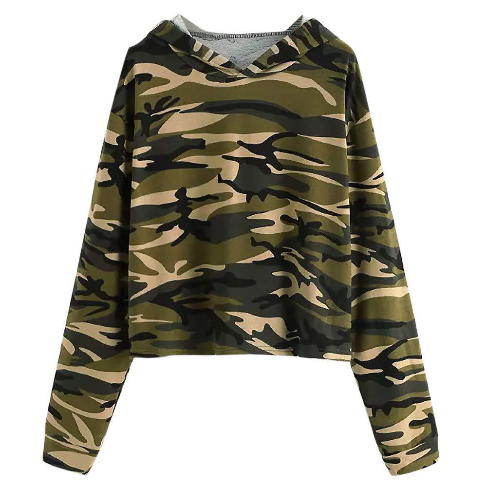 Spbamboo Womens Sweatshirt Plus Size Long Sleeve Camouflage Hoodie Top Blouse