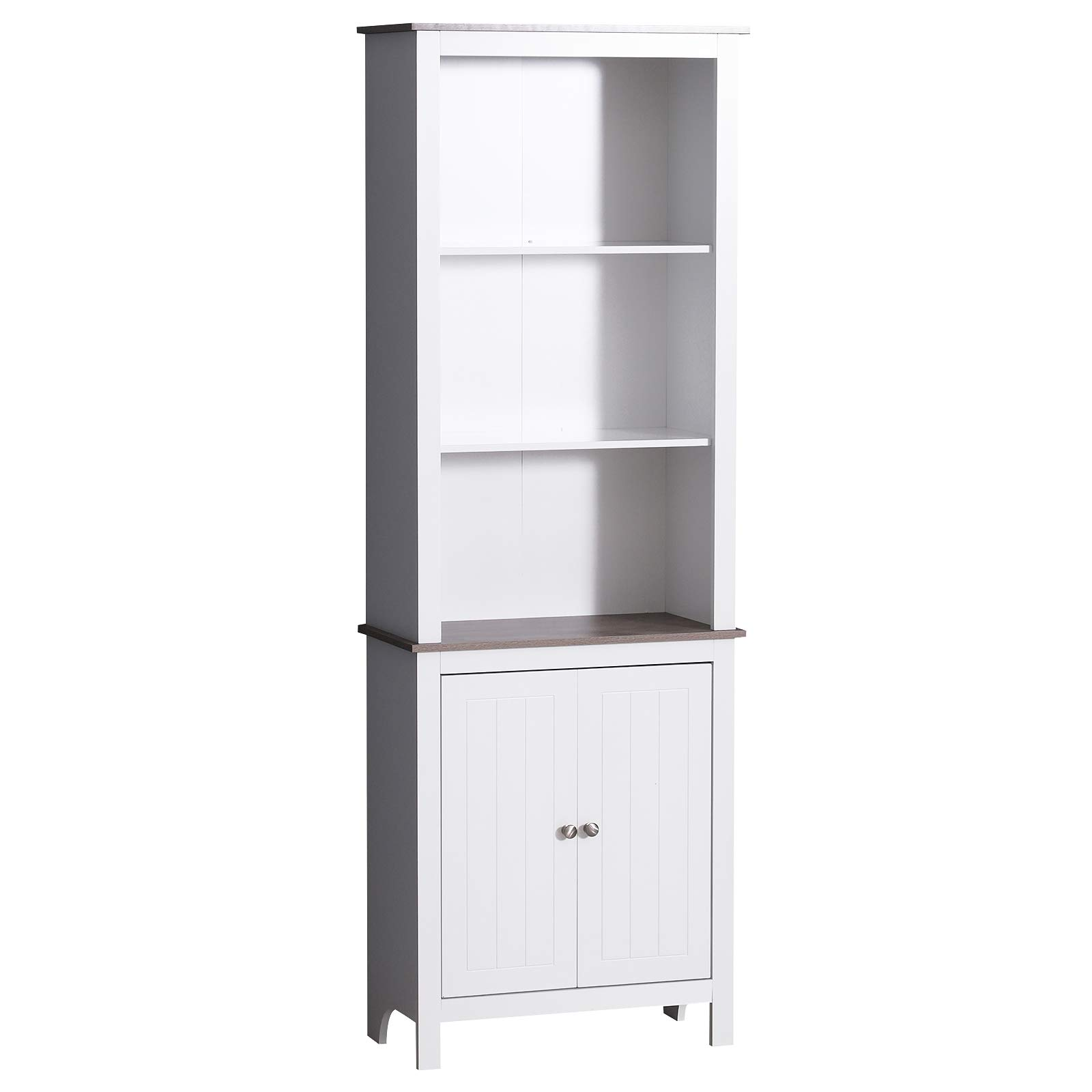 HOMCOM 69'' Wood Free Standing Bathroom Linen Tower Storage Cabinet - White by HOMCOM