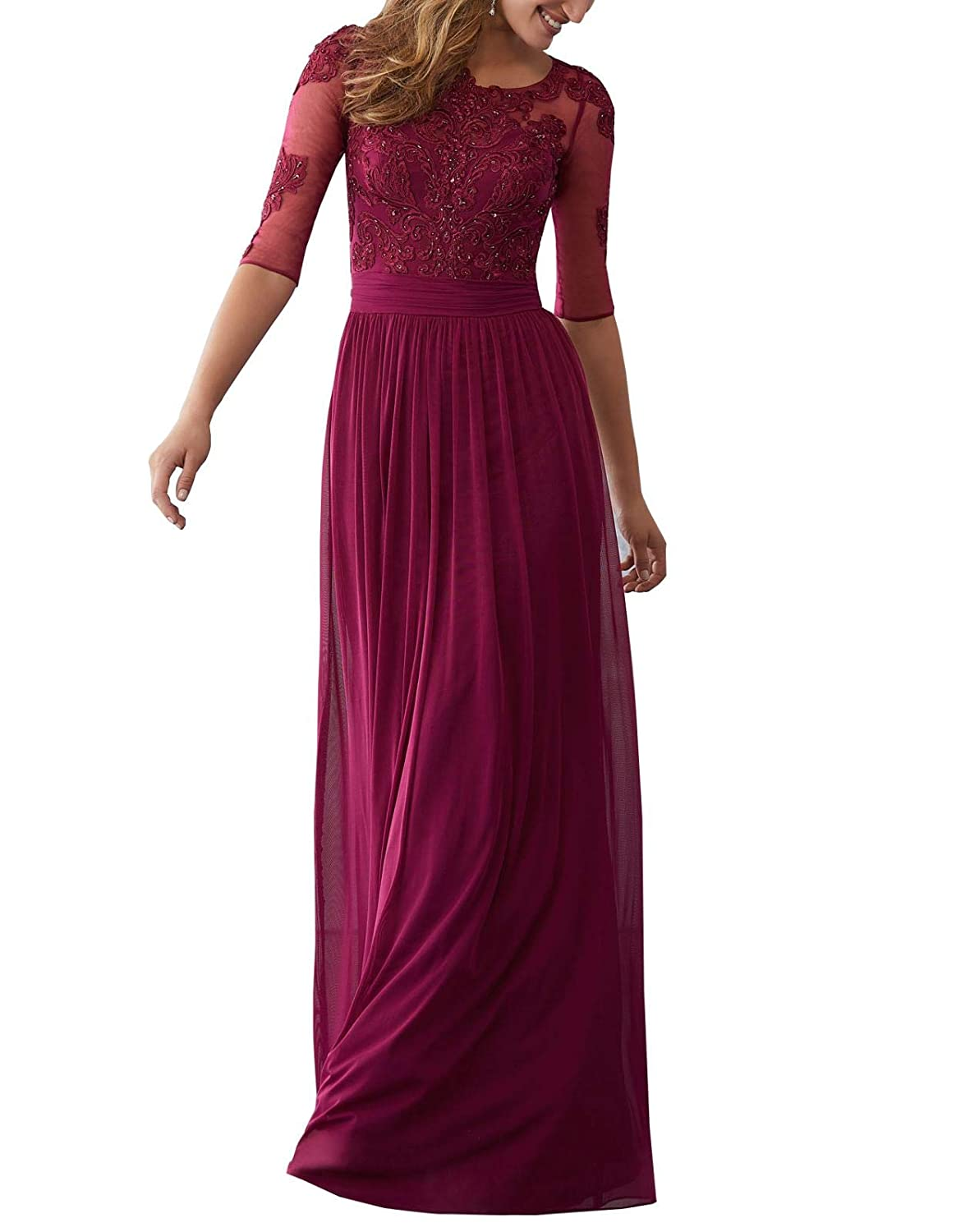 Dark Pink Wanshaqin Women's Aline Illusion Lace Appliques Evening Gown Formal Wedding Party Dress for Brides with Pleated Empire Waist