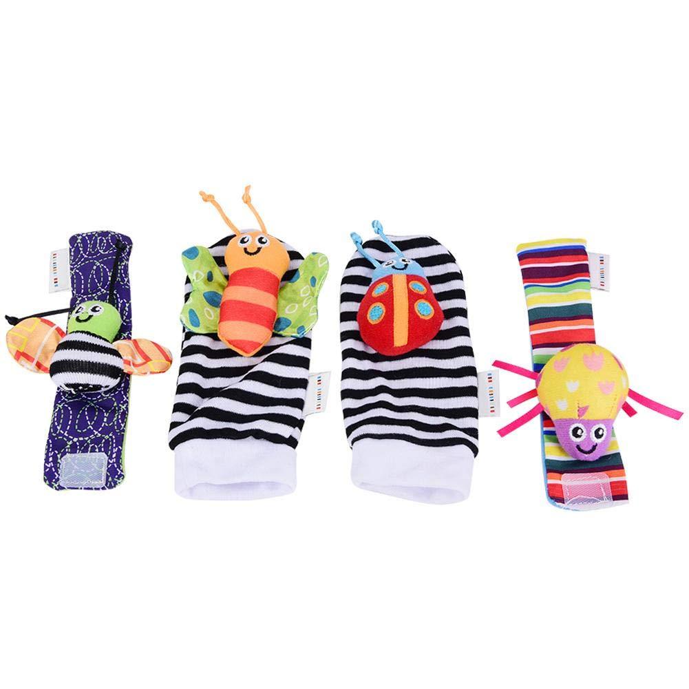 4pcs b/éb/é poignet et chaussettes hochet jouets ensemble poup/ées de peluche animaux de dessin anim/é avec anneau cloche pour les tout-petits #1