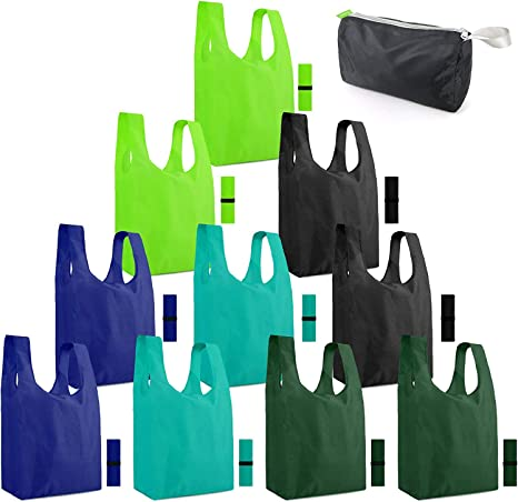 Reusable Grocery Bag Compact Fold Up Shopping Produce Farmers Market Tote ECO Friendly Recycled Red White T-Shirt w Pocket